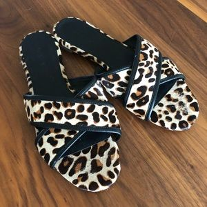 Jcrew Cora Slide - Genuine Calf Hair Animal Print